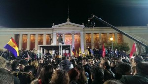 Crowds wait for new Prime Minister Alexis Tsipras. (photo: Mike Williamson)
